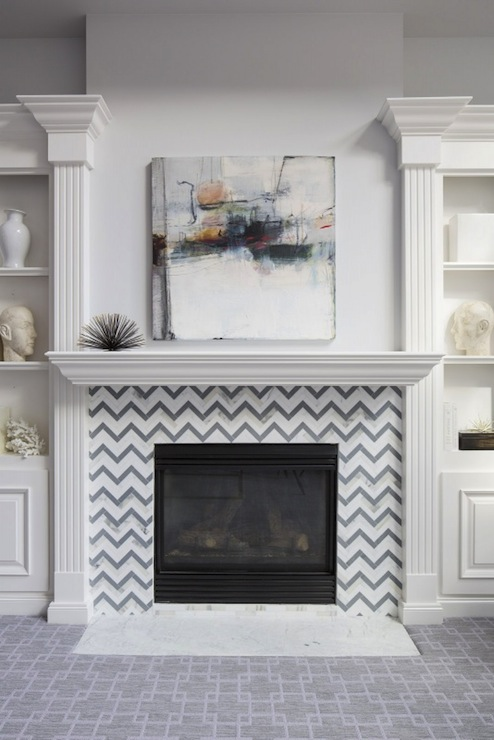 Chevron Fireplace Surround Transitional Living Room Benjamin Moore Grey Tint Martha O