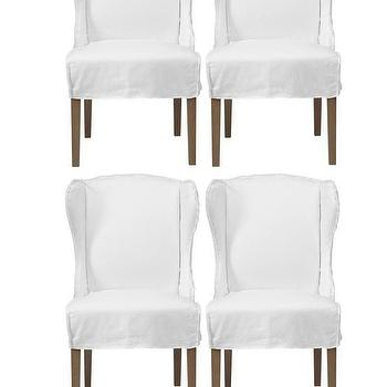 Seating - Chic Combo - Maddox White Chairs - Set of 4 | Z Gallerie - white slipcovered dining chairs, slipcovered wing dining chair, slipcovered side chairs,