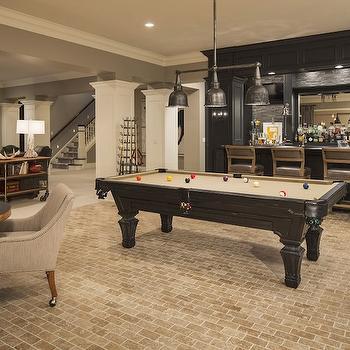 Family Room in Basement, Transitional, basement, Benjamin Moore Ozark Shadows, Martha O'Hara Interiors