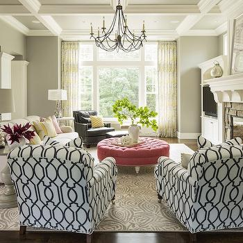 Pink Tufted Ottoman, Transitional, living room, Benjamin Moore Valley Forge Tan, Martha O'Hara Interiors