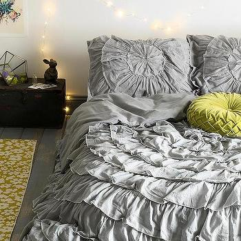 Bedding - Plum & Bow Ruffle-Medallion Duvet Cover I Urban Outfitters - gray ruffled bedding, gray ruffled duvet cover, gray ruffle medallion bedding,