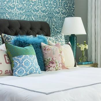 Turquoise Damask Wallpaper, Contemporary, bedroom, Benjamin Moore Nimbus, Martha O'Hara Interiors