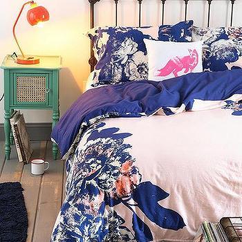 Bedding - Plum & Bow Corner Floral Duvet Cover I Urban Outfitters - blue floral duvet cover, blue floral bedding, bold floral bedding, bold floral duvet,