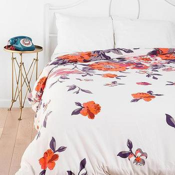 Bedding - Plum & Bow Falling Garden Duvet Cover I Urban Outfitters - gray and orange bedding, gray and orange floral bedding, gray orange and white floral bedding, gray orange and white floral duvet,