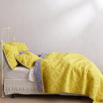 Bedding - Cambridge Coverlet I anthropologie.com - gray and yellow bedding, gray and yellow coverlet, gray and yellow reversible coverlet,