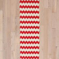 Rugs - Zigzag Runner I Urban Outfitters - red and white chevron runner, red and white zigzag runner, red and white zizag rug runner,