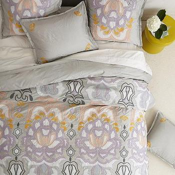 Bedding - Safia Embroidered Duvet I anthropologie.com - gray yellow and lilac duvet, gray embroidered duvet, gray yellow and lilac embroidered bedding,