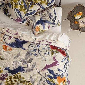 Bedding - Creature Hideaway Quilt I anthropologie.com - tapestry motif bedding, tapestry motif quilt, floral and fauna quilt, woodland motif quilt,