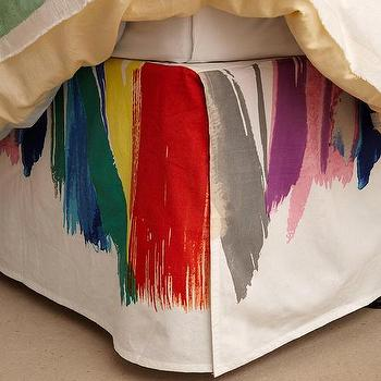 Bedding - Essa Bedskirt I anthropologie.com - multi-colored bedskirt, multi-colored bed skirt, brushstroke bedding, brushstroke bed skirt,