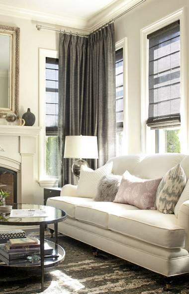 Gray Drapes Transitional Living Room Kelly Deck Design