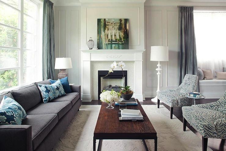 Gray Velvet Sofa - Transitional - living room - Kelly Deck ...
