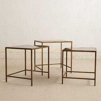Tables - Looking Glass Nesting Tables I anthropologie.com - antiqued brass nesting tables, mirror and brass nesting tables, aged mirror and antiqued brass nesting tables, nesting tables,