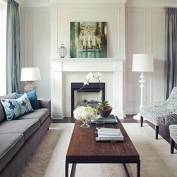 Gray Velvet Sofa, Transitional, living room, Kelly Deck Design