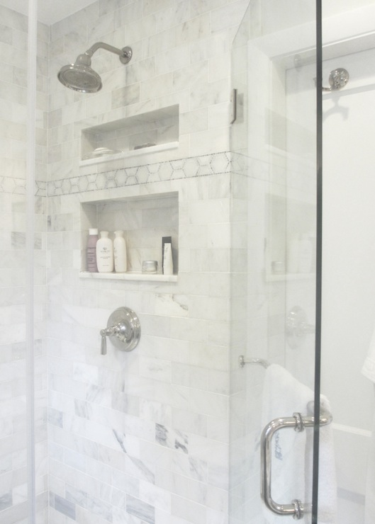 White marble shower surround transitional bathroom for Marble tile bathroom design