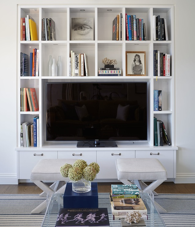 built in media cabinet transitional living room