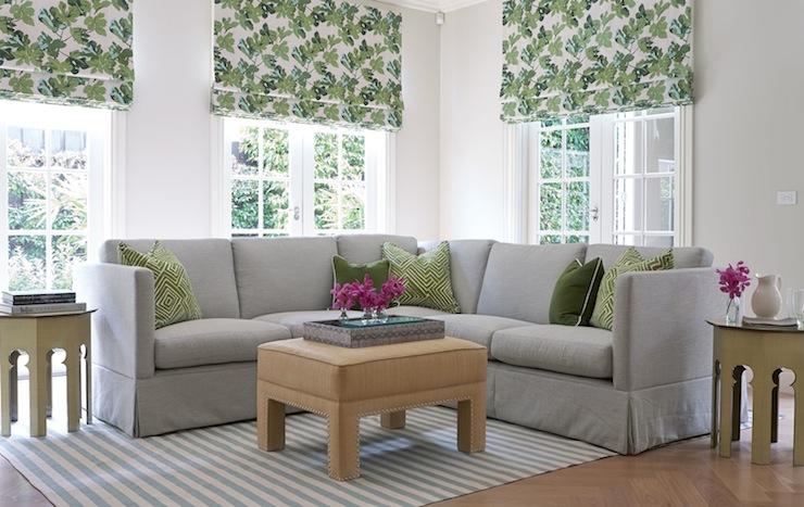 Light Gray Sectional Transitional Living Room Diane