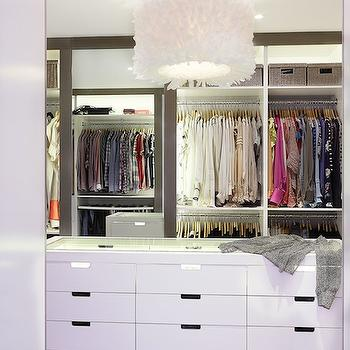 Diane Bergeron Interiors - closets - walk in closet, closet island, closet chandelier, feather drum pendant, white feather drum pendant, white chandelier, feather chandelier, white feather chandelier, lacquered closet island, closet island with glass top, well organized closet, organized closet, luxurious closets,