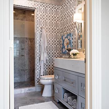 Elizabeth Kimberly Design - bathrooms - gray bathroom, gray bathroom design, gray bath, gray bath ideas, gray trellis wallpaper, trellis wallpaper, imperial trellis wallpaper, gray imperial trellis wallpaper, charcoal trellis wallpaper, charcoal imperial trellis wallpaper, gray moldings, gray crown moldings, bathroom moldings, bathroom crown molding, gray vanity, gray washstand, gray bathroom vanity, lucite knobs, lucite pulls, lucite hardware, cabinet hardware, vanity hardware, gray tiles, gray floor, gray tile floor, above the toilet art, art over toilet, kelly wearstler wallpaper, Imperial Trellis Charcoal Wallpaper,