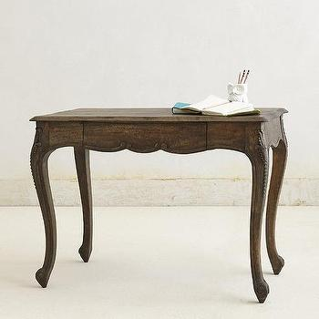 Tables - Handcarved Gustavian Desk I anthropologie.com - cabriole desk, gustavian desk, french-neo classical desk,