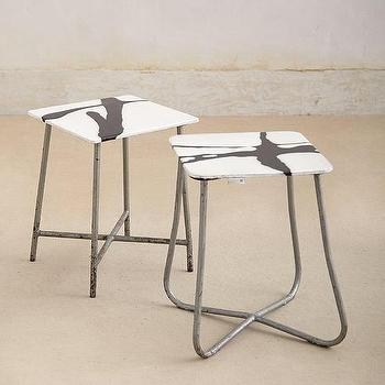 Tables - Resin Stool I anthropologie.com - steel and resin stool, black and white steel stool, black and white resin and steel stool,