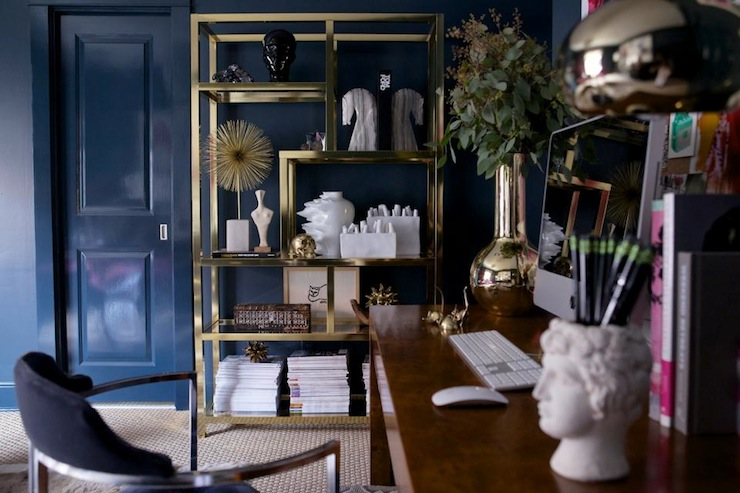 Brass Etagere Eclectic Den Library Office Sally