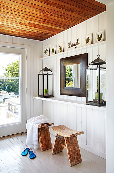 White painted floor cottage entrance foyer laura hay for Hardwood floors with wood ceilings