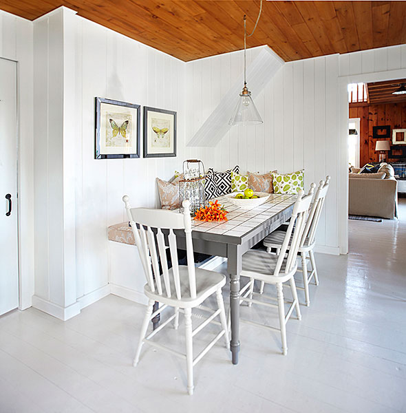 White Plank Floor Cottage Dining Room Laura Hay