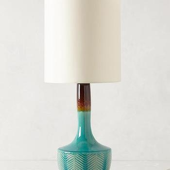 Lighting - Fern Fossil Lamp Ensemble I anthropologie.com - turquoise and brown lamp, glazed turquoise and brown porcelain lamp, turquoise and brown lamp with leaf pattern,