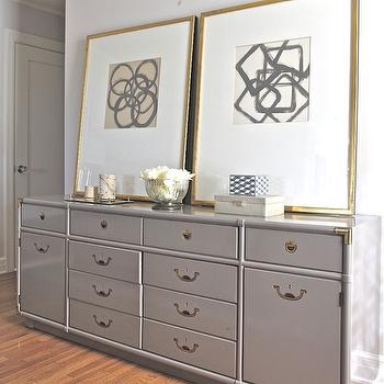 Rosa Beltran Design - bedrooms - gray dresser, campaign dresser, gray campaign dresser, abstract art, gold leaf frames gold leaf gallery frames, gray walls, bedroom with gray walls, gray paint, gray paint colors, benjamin moore grays, benjamin moore gray paint, benjamin moore gray paint colors, painted dressers, Benjamin Moore Shoreline,