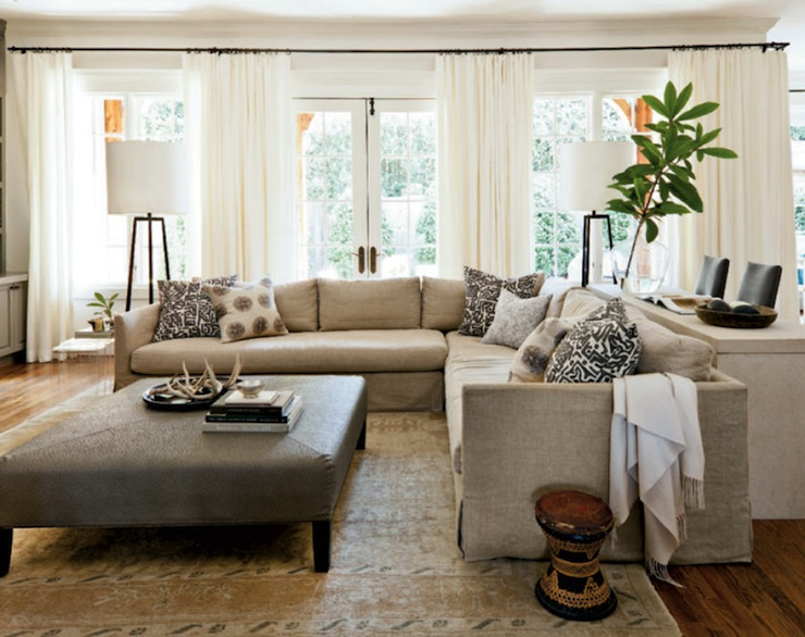 Linen Slipcovered Sectional Transitional Living Room