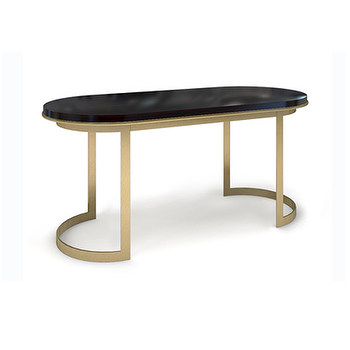 Tables - THE COCO DESK - STAINED MAHOGANY | Plum Furniture - oval desk, brass desk with mahogany top, contemporary brass desk, oval brass desk with mahogany top,