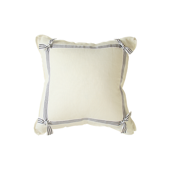 Pillows - THE TIE ONE ON PILLOW | Plum Furniture - white pillow with gray grosgrain trim, white pillow with gray striped grosgrain trim, white and gray pillow,