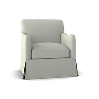 Seating - THE KEIRA CHAIR | Plum Furniture - gray contemporary armchair, gray skirted armchair, gray upholstered skirted armchair,