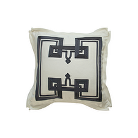 Pillows - THE DON'T FRET PILLOW I Plum Furniture - white pillow with charcoal gray border, white pillow with charcoal grosgrain border, white pillow with dark gray ribbon border,