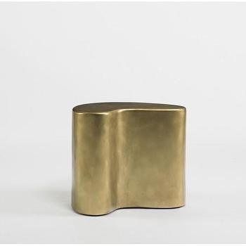 Tables - DwellStudio Salvador Side Table | DwellStudio - kidney shaped brass side table, sculptural brass side table, modern side table in vintage brass finish,