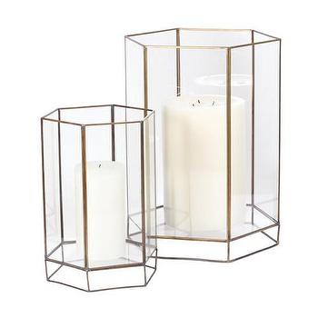 Decor/Accessories - DwellStudio Glass Oriel Hurricane | DwellStudio - candle hurricane, modern candle hurricane, brass and glass candle hurricane,