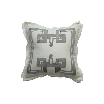 Pillows - THE DON'T FRET PILLOW I Plum Design - white pillow with gray border, white pillow with gray grosgrain trim, white pillow with gray fretwork border,
