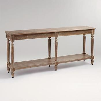 Tables - Everett Foyer Table | World Market - gray washed console table, acacia wood console table, acacia wood foyer table,