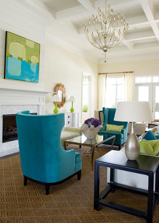Walker arm chair turquoise. Contemporary living room with turquoise  curtains bright turquoise. Beeyoutifullife.com. Decorpad.com - Turquoise Living Room Chair Modern House