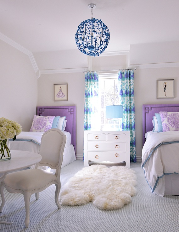 Tracy Hardenburg Designs - girl's rooms - Jacqui 4-Drawer Table, Kazak Aqua Lilac on White, Stray Dog Designs Celeste Sphere, Global Views Faux Bois Table, shared girls room, shared girls bedroom, shared kids room shared kids bedroom, indigo blue chandelier, kids chandeliers, girls chandelier, ikat curtains, ikat drapes, turquoise and purple curtains, turquoise and purple drapes, greek key headboards, greek key trim, purple headboards, twin headboards, kids headboards, girls headboards, twin purple headboard, bungalow 5 nightstand, shared nightstand, turquoise pillows, turquoise lamp shade, faux bois table, vintage fashion prints,