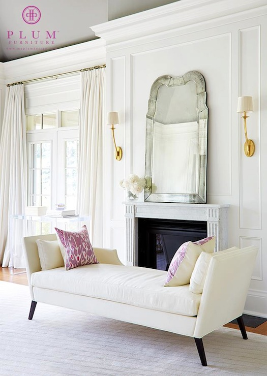 Ivory Chaise Lounge - Transitional - living room - Plum ...