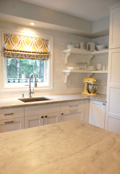 Yellow and gray kitchen transitional kitchen kate - Kitchen with yellow accents ...