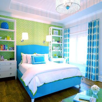 Tracy Hardenburg Designs - girl's rooms - blue and green girls room, blue and green kids room, turquoise and green kids room, turquoise and green girls room, turquoise bed, turquoise blue bed, turquoise headboard, turquoise blue headboard, white and green bedding, kids bedding, bookcase as nightstand, tall bookcase, white bookcase, kids bookcase, white and blue curtains, tray ceiling, kids room tray ceiling, turquoise beaded chandelier, Quadrille Fiorentina Wallpaper,