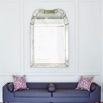 Plum Furniture - entrances/foyers: purple bench, purple settee, plum pillow, plum ikat pillow, ivory rug, fish scales rug, antiqued mirror, gray ceiling, purple silk bench,