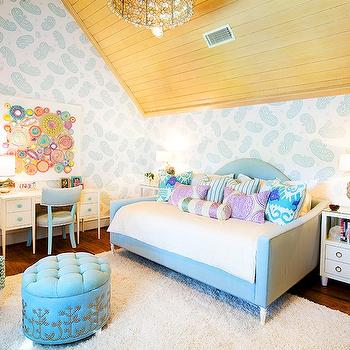 Chic girl's room with paneled vaulted ceiling paired with white and teal paisley ...