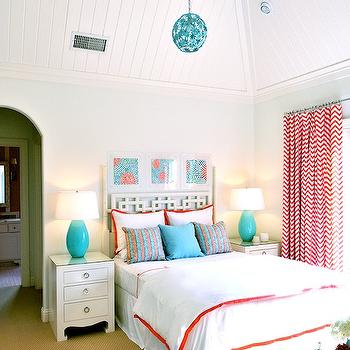 Tracy Hardenburg Designs - girl's rooms - turquoise and red girls room, turquoise blue and red girls room, turquoise blue and red kids room, vaulted ceiling, beadboard paneled ceiling, beadboard ceiling, chevron curtains, chevron drapes, red chevron curtains, red chevron drapes, red and turquoise art, art over headboard, overlapping squares headboard, white and orange shams, white and orange bedding, white and orange shams, turquoise lamps, turquoise blue lamps, bungalow 5 nightstands, turquoise blue chandeliers, Jacqui 3 Drawer Side,