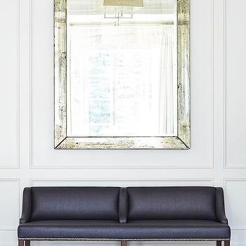 Plum Furniture - entrances/foyers - antiqued mirror, large antiqued mirror, foyer mirror, mirror over bench, mirror above bench, dark gray bench, charcoal gray bench, linen bench, gray linen bench, fish scales rug, wall moldings, decorative wall moldings, trim moldings, foyer, chic foyers, The Isabella Bench,