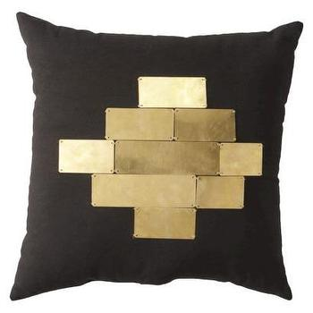 Pillows - Nate Berkus Metallic Plate Decorative Pillow I Target - black pillow with gold plates, modern black and gold pillow, black pillow with gold tiled front,