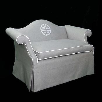 Seating - Camel Back Grey and White | CC DeuxVie - gray camel back loveseat, gray skirted camel back loveseat, gray camel back loveseat with monogram,