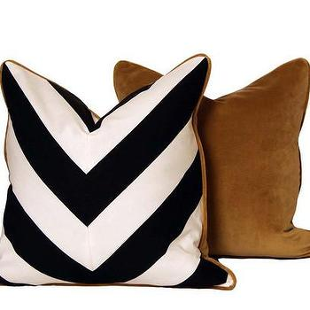 Pillows - Chevron Throw Pillows Black & White | CC DeuxVie - black and white chevron throw pillow, black and white chevron pillow with gold back, chevron pillow with gold velour backing,